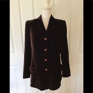 Valentino brown velvet blazer with amber buttons 8